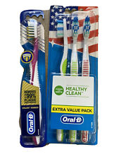 Oral-B Healthy Clean Vitalizer Advanced Toothbrushes Soft Lot X 4 Green Red Pink