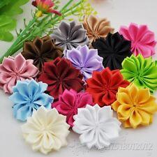 10/20/100pcs Lots Satin Ribbon Flowers Bows W/Peal Rose Appliques 35mm A022