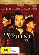 Three Violent People (DVD, Region 4) Charlton Heston - Brand New, Sealed