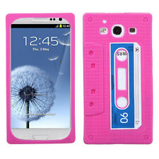 For Samsung Galaxy S III 3 Rubber Silicone Skin Case Cover Pink Cassette Tape
