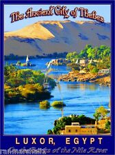 Ancient City of Thebes Nile River Luxor Egypt Travel Art Poster Advertisement