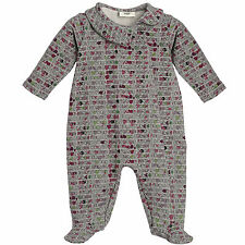 New Authentic FENDI Roma Infant Baby Girl Gray Print Footed Romper (3 Months)