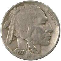 1937 D Indian Head Buffalo Nickel 5 Cent Piece F Fine 5c US Coin Collectible