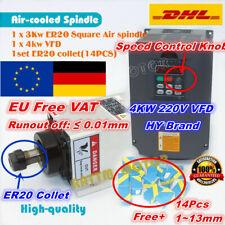 【At DE】3KW ER20 220V Square Air Cooled Spindle Motor+4KW VFD Inverter+Collet CNC