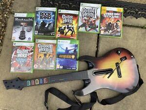 Xbox 360 Guitar & Guitar Hero Metallica Van Helen Green Day 8 Game Bundle