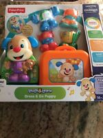 Fisher Price New Sealed Laugh & Learn Dress & Go Puppy 18-36 mos Toddler Toy