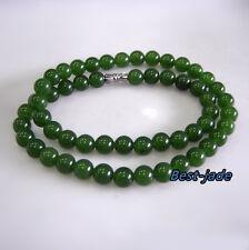 Top Grade Apple Green Nephrite Jade necklace Canada Jade 8mm MAORI Pulsera Bead