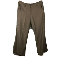 Tommy Bahama Women's Pants Brown 100% Silk Sz 10 Loose Fit Taupe Flat Front