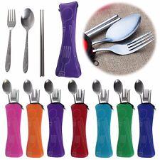 3 Pcs 1 Set Stainless Steel Cutlery Chopsticks Spoon Fork Bag Portable Travel