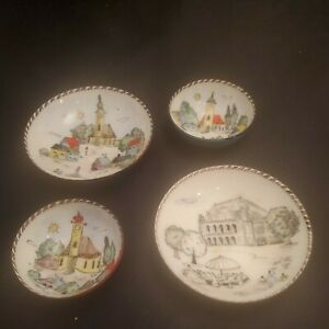 4 VINTAGE STEINBOCK Austria Enamel Ware Handmade Decorative Trinket Dishes