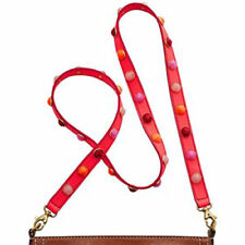 Fossil  Purse-Strap NWT $58 Emma Colorful Gems Neon Coral Leather for Crossbody