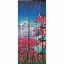 Bamboo Bead Curtain Panel Oriental Pagoda Fuji Wall Hanging Door Room Divider
