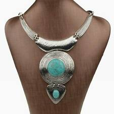 Tibetan Silver Round Tribal Elegant Genuine Turquoise Heart Necklace Pendant