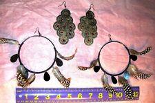 Designer NEW Feather VERY Big Hoop Earrings Hoops Pierced Wrapped & 1 extra pair