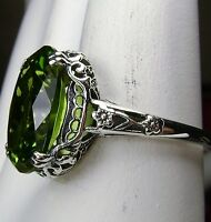 5ct *Peridot* Sterling Silver Edwardian Floral Filigree Ring {Made To Order}