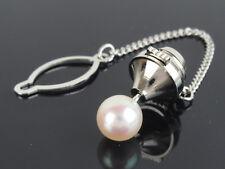 Genuine 7mm Pearl & Stainless Steel Tie Tack Tie Pin