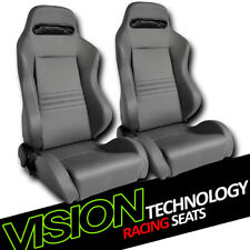 T-R Type Gray Stitch PVC Leather Reclinable Racing Bucket Seats+Sliders L+R V27