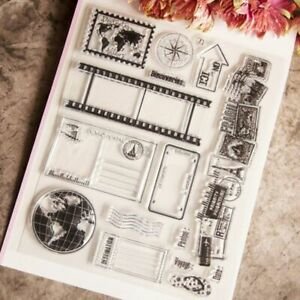Vintage World Travel Earth Map Clear Stamps Craft Transparent Silicone Stamp DIY