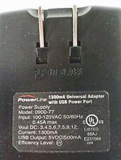 Powerline universal Ac to 1300mA 3 to 12-Vdc adapter + Usb chg socket