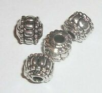 Antique silver pewter 7x7mm lantern spacer beads -- 40 pieces (4281AS)