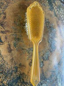 VTG Art Deco Butterscotch Hair Brush 1920's Vanity Bakelite? Natural Bristle 9.5