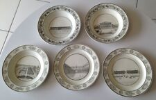 Lot 5 assiettes porcelaine Creil et Montereau Lebeuf, Monuments de Paris