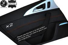 Cuciture arancione 2x POSTERIORE PORTA CARD Trim cuoio pelle copertura si adatta AUDI A6 C7 11-15