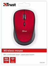 TRUST 19522 YVI RED WIRELESS 800/1600DPI MOUSE, SPEED BUTTON & STORABLE RECEIVER