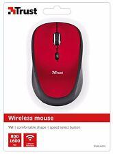 TRUST 19522 Yvi Rosso Mouse 800/1600DPI wireless, velocità Pulsante & IMMAGAZZINABILE Ricevitore