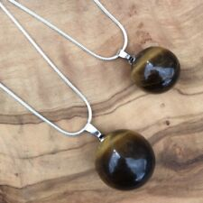 Mother Daughter Tiger's Eye Crystal Ball Sphere Necklace Set Positivity Love