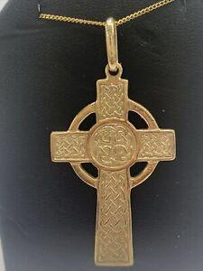 9ct 9k Yellow Gold Celtic Irish Crucifix Cross Pendant 13.4 Grams. Brand New
