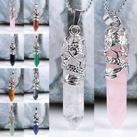 Hexagonal Natural Quartz Crystal Chakra Healing Point Pendant Necklace Jewelry