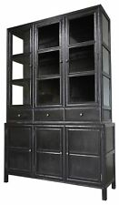 "90"" Hutch Solid Mahogany Hand Rubbed Black 3 Drawers 3 Glass Doors 3 Cupboards"