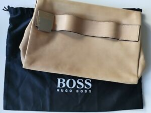 HUGO Boss Tasche Clutch + beige + Leder + Kalbsleder