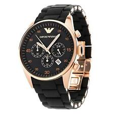 Emporio ARMANI AR5905 Mens Luxury Watch Black and Rose Gold Chronograph Watch