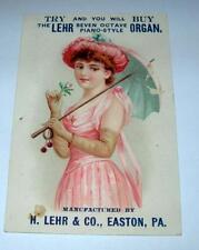ANTIQUE ADVERTISING TRADE CARD THE LEHR SEVEN OCTIVE PIANO STYLE ORGAN