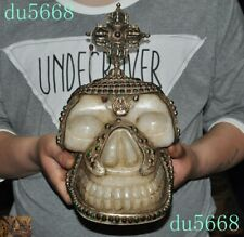 Tibet Buddhism silver Filigree Inlay gem crystal Carved Skull death-head statue