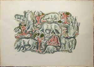 Antony De Witt litografia 1964 Animali nella Pampa 65x46 firmata numerata