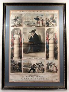 Safely Moor'd in Greenwich Hospital. Rare Naval themed print. 1860s Royal Navy