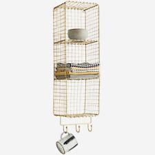 Industrial Antique Brass Wire 3 Tier Storage Shelf with 3 Hooks, Display Unit