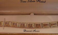 NEW WOMEN'S HEAVY GREEK KEY BRACELET YELLOW GOLD BRONZE DIAMOND ACCENT