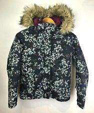 Roxy Dry Flight Winter Jacket Girls Youth Size 12 Floral Faux Fur Trimmed Hood