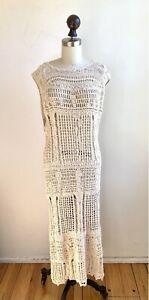 Free People Crochet Sweater Knit Kaftan Cover Up Dress Boho shift maxi tunic