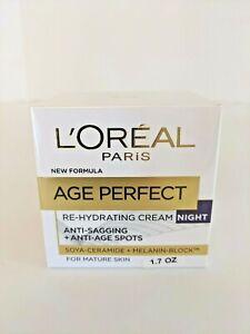 Loreal Age Perfect Re-Hydrating Night Cream Anti-Sagging + Anti-Age Spots 1.7 oz