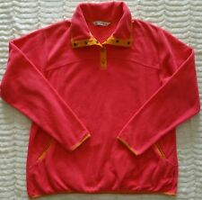 Woolrich Womens XL Fleece Pullover Coral and Yellow Snap Button Neck Outdoors