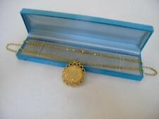 1966 Vintage 9ct GOLD Plated Elizabeth II Half Penny Coin Chain Necklace 21.2g