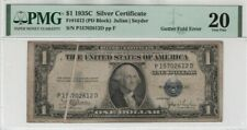 1935 C $1 Silver Certificate Gutter Fold Error Note PMG Very Fine VF 20