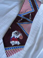 COKE VTG Coca Cola Men's Neck Tie Basketball Bear Patriotic Theme C 1990s