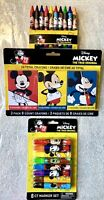Mickey Mouse 90 Years, Markers, Jumbo Crayons, Cap Erasers, School Supplies-NEW
