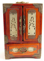 ANTIQUE CHINESE WOOD JADE EXPORT JEWELRY BOX WITH LOCK AND KEY RARE !!